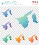 Brunei geometryczne poligonalne mapy, mozaika styl Obrazy Stock