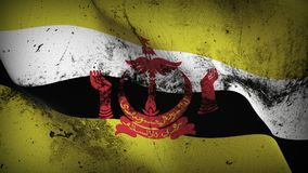 Brunei grunge dirty flag waving on wind. Bruneian background fullscreen grease flag blowing on wind. Realistic filth fabric texture on windy day Royalty Free Stock Image