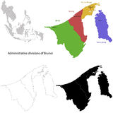 Brunei map. Administrative division of the Nation of Brunei Stock Image