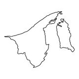 Brunei map of black contour curves vector illustration Royalty Free Stock Images
