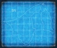 Brunei map blue print artwork illustration silhouette Royalty Free Stock Photos