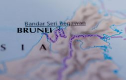 Brunei on map. Close up shot of Brunei on a map Royalty Free Stock Image