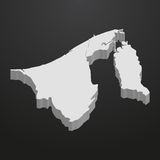 Brunei map in gray on a black background 3d Royalty Free Stock Photos