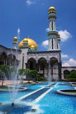 Brunei Mosque and fountain. Borneo, Sultanate of Brunei, Jameasr Hassanil Bolkiah Mosque in the capital Bandar Seri Begawan Stock Photography
