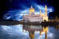 Brunei Mosque with Galactic Background. Night image of Sultan Omar Ali Saifuddien Mosque, Bandar Seri Begawan, Brunei with stars and galaxies Stock Photography
