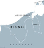 Brunei political map. With capital Bandar Seri Begawan. English labeling. The Nation of Brunei, the Abode of Peace. Sovereign state on north coast of Borneo in Royalty Free Stock Photography