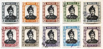 Brunei postage stamps. A close up of ten postage stamps from the country of Brunei stock photos
