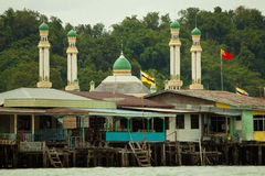 Brunei's water village with Mosque called Kampong Ayer in Bandar Seri Begawan Stock Photography