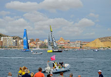 Brunel And Vestas - Close Racing Volvo ocean Race Sailing Event Royalty Free Stock Photo