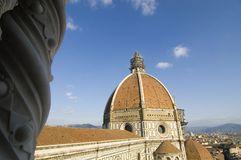 Brunelleschi Florence dome cupola. Seen from Giottos bell tower stock photography