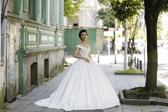Brunet bride posing. In city streets Royalty Free Stock Photos