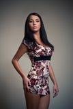 brunet dziewczyna kolorowa smokingowa Fotografia Stock