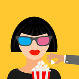 Brunet girl at the Cinema theatre in 3D glasses Hand steal popcorn. Black dress Flat dsign style icon. Vector illustration royalty free illustration