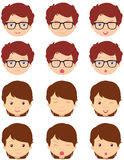 Brunet girl and spectacled boy emotions: joy, surprise, fear Royalty Free Stock Photos
