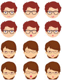 Brunet girl and spectacled boy emotions: joy, surprise, fear Stock Photography