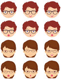Brunet girl and spectacled boy emotions: joy, surprise, fear Royalty Free Stock Photography