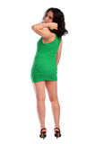 brunet kędzierzawa dziewczyny połówka przewodząca obracającą Obraz Stock