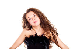 Brunet lady with a beautiful hair Stock Photography
