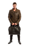 Brunet male model wearing cool leather jacket Royalty Free Stock Image