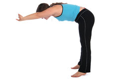 Brunet sport girl bend forward sideview Royalty Free Stock Image