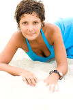 Brunet woman in blue Royalty Free Stock Images