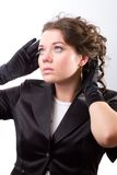 Brunet Woman In Black Gloves Royalty Free Stock Photography
