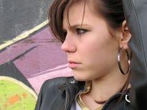 Brunet woman street portrait Stock Photography