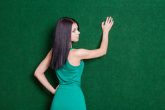 Brunete lady against green wall from back Stock Images