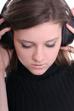 brunetek słuchawki medytują Obrazy Stock