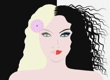 Brunetka i blondynka w jeden osobie ilustracji