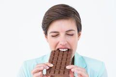 Brunetka je baru czekolada Obraz Stock