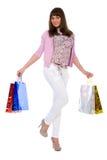 brunetka kosztuje heerful zakupy Fotografia Stock
