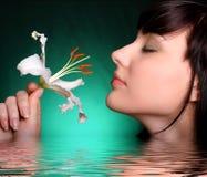brunetka kwiaty lily white wody Zdjęcia Royalty Free