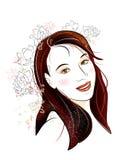 brunetka kwitnie dziewczyny ilustracja wektor
