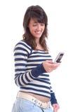 brunetka odizolowywam telefonu seksowny używać Zdjęcia Stock
