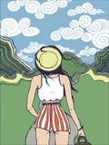 Brunetka podróżnika dziewczyna w zielonych górach ilustracji