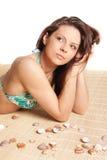 brunetka w pięknym portret seksowni opalony young Obraz Stock