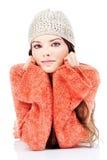 brunetki śliczna puloweru kobieta zdjęcia stock