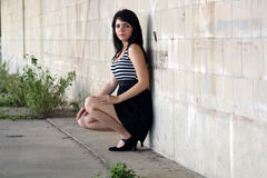 brunetki (1) piękna blokowa ściana Obrazy Stock