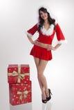 brunetki bożych narodzeń Claus prezenty Santa Obraz Stock
