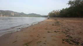 brunetki dziewczyna biega na plaży przeciw falezom