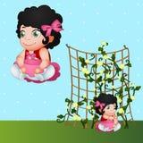 Brunetki dziewczyna i kwiaty, charakter w naturze ilustracja wektor