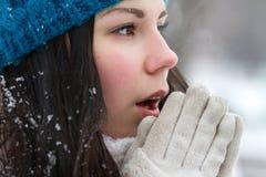 Brunetki dziewczyna outdoors w zimie zdjęcia stock