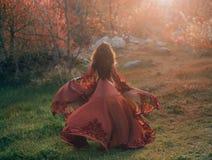 Brunetki dziewczyna z falistym, gęstym włosy, biega spotkanie słońce Fotografia od plecy bez twarzy, L zdjęcia royalty free