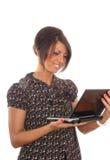 brunetki dziewczyny laptop dosyć Obraz Royalty Free