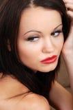 brunetki headshot pomadki czerwień Fotografia Stock