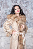 Brunetki kobieta jest ubranym luksusowego futerkowego żakiet z biżuterią Moda modela dziewczyny portret, studio strzał Zima odzie Fotografia Stock