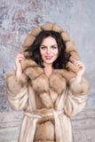 Brunetki kobieta jest ubranym luksusowego futerkowego żakiet z biżuterią Moda modela dziewczyny portret, studio strzał Zima odzie Fotografia Royalty Free