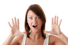 brunetki kobieta przypadkowa zdziwiona obrazy stock