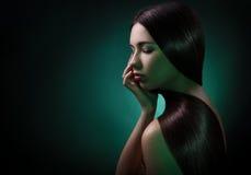 brunetki kobieta włosiana zdrowa długa Zdjęcie Stock